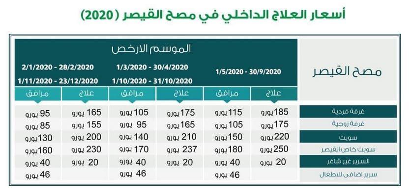 اسعار مصح القيصر 2020